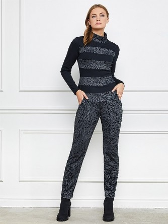 "Lega kelnės ""Lelia Grey - Black Velour Cheetah Pattern"""