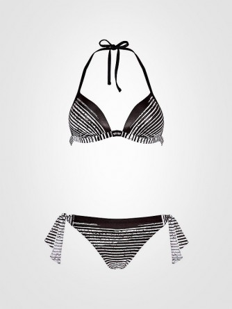 "Maryan Mehlhorn ""Push up"" bikini maudymosi kostiumėlis ""Chintz 2 Black - White Stripes"""